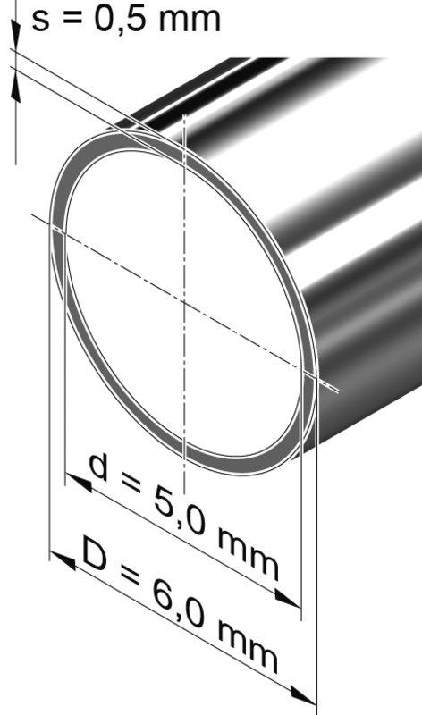 Edelstahlrohr dünnwandig, rund <br>6,0 mm x 0,5 mm, 1.4301 (V2A)