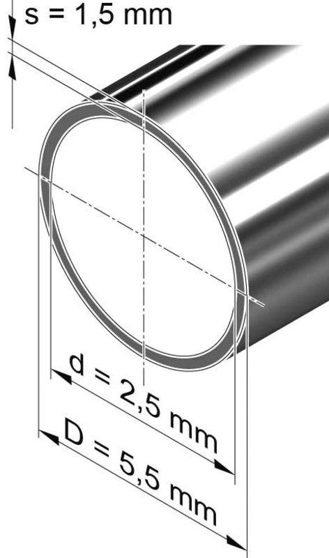 Edelstahlrohr dünnwandig, rund <br>5,5 mm x 1,5 mm, 1.4301 (V2A)