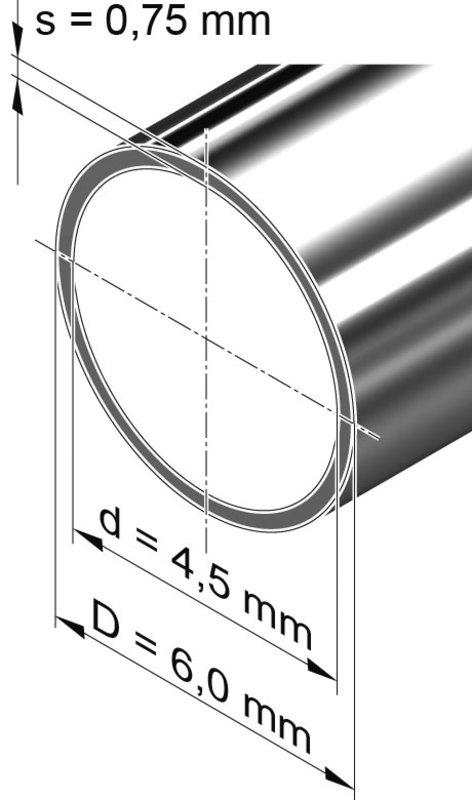 Edelstahlrohr dünnwandig, rund <br>6,0 mm x 0,75 mm, 1.4301 (V2A)