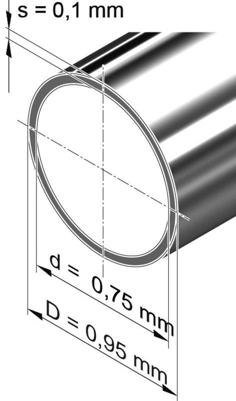 Edelstahlrohr dünnwandig, rund<br>0,95 mm x 0,10 mm, 1.4301 (V2A)