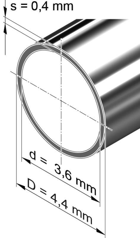 Edelstahlrohr dünnwandig, rund <br>4,4 mm x 0,4 mm, 1.4301 (V2A)