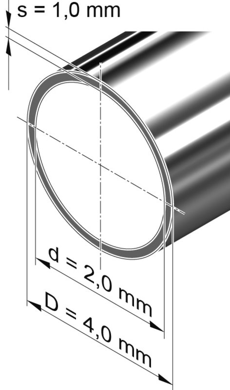 Edelstahlrohr dünnwandig, rund <br>4,0 mm x 1,0 mm, 1.4301 (V2A)