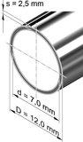 Edelstahlrohr, rund <br>12,0 mm x 2,5 mm, 1.4301 (V2A)