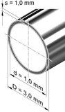 Edelstahlrohr, rund<br>3,0 mm x 1,0 mm, 1.4301 (V2A)