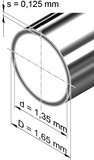 Edelstahlrohr, rund<br>1,65 mm x 0,125 mm, 1.4301 (V2A)