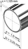 Edelstahlrohr, rund <br>3,25 mm x 1,125 mm, 1.4401 (V4A)