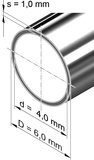 Edelstahlrohr, rund<br>6,0 mm x 1,0 mm, 1.4301 (V2A)